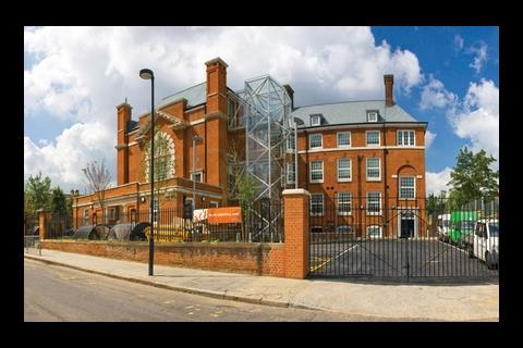 An external glass stair tower was added to the Edwardian building at Elm Court school